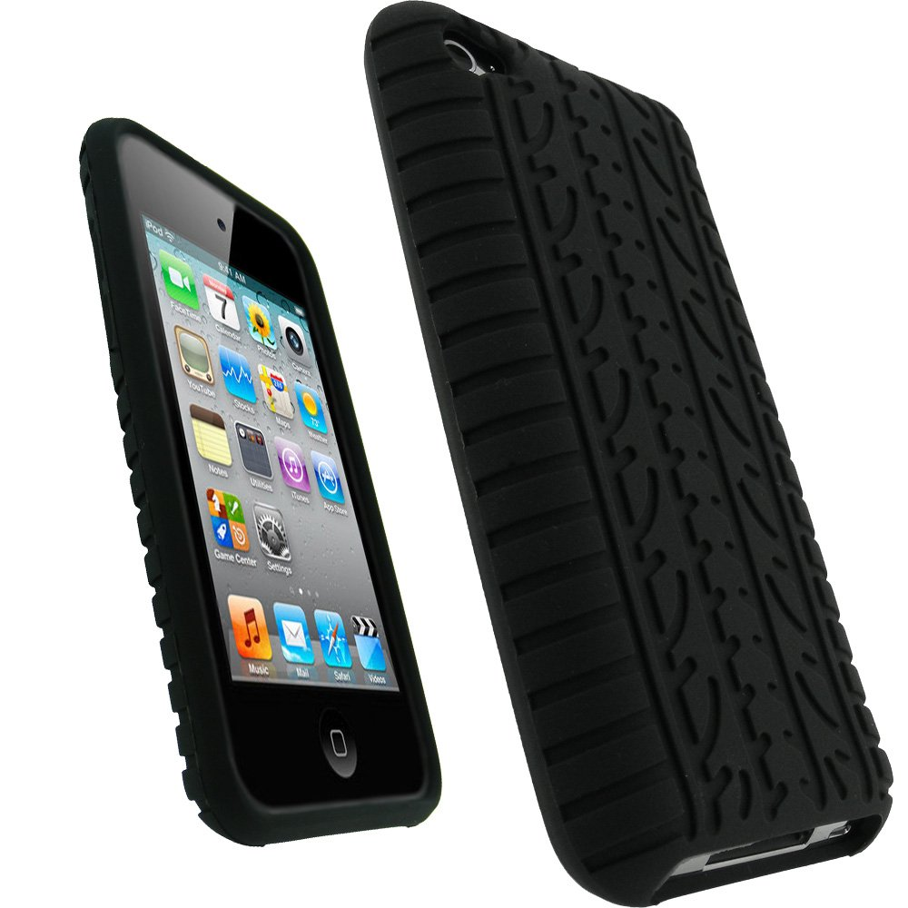 igadgitz Black Silicone Skin Case Cover with Tire Tread Design for iPod Touch 4th Generation 4G 8GB, 32GB & 64GB + Screen Protector Tou4BlkTyreSil