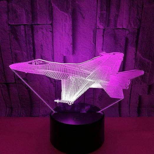 Avión 3D Lámpara De Ilusión Óptica Luz Nocturna Luz De Estado De ...