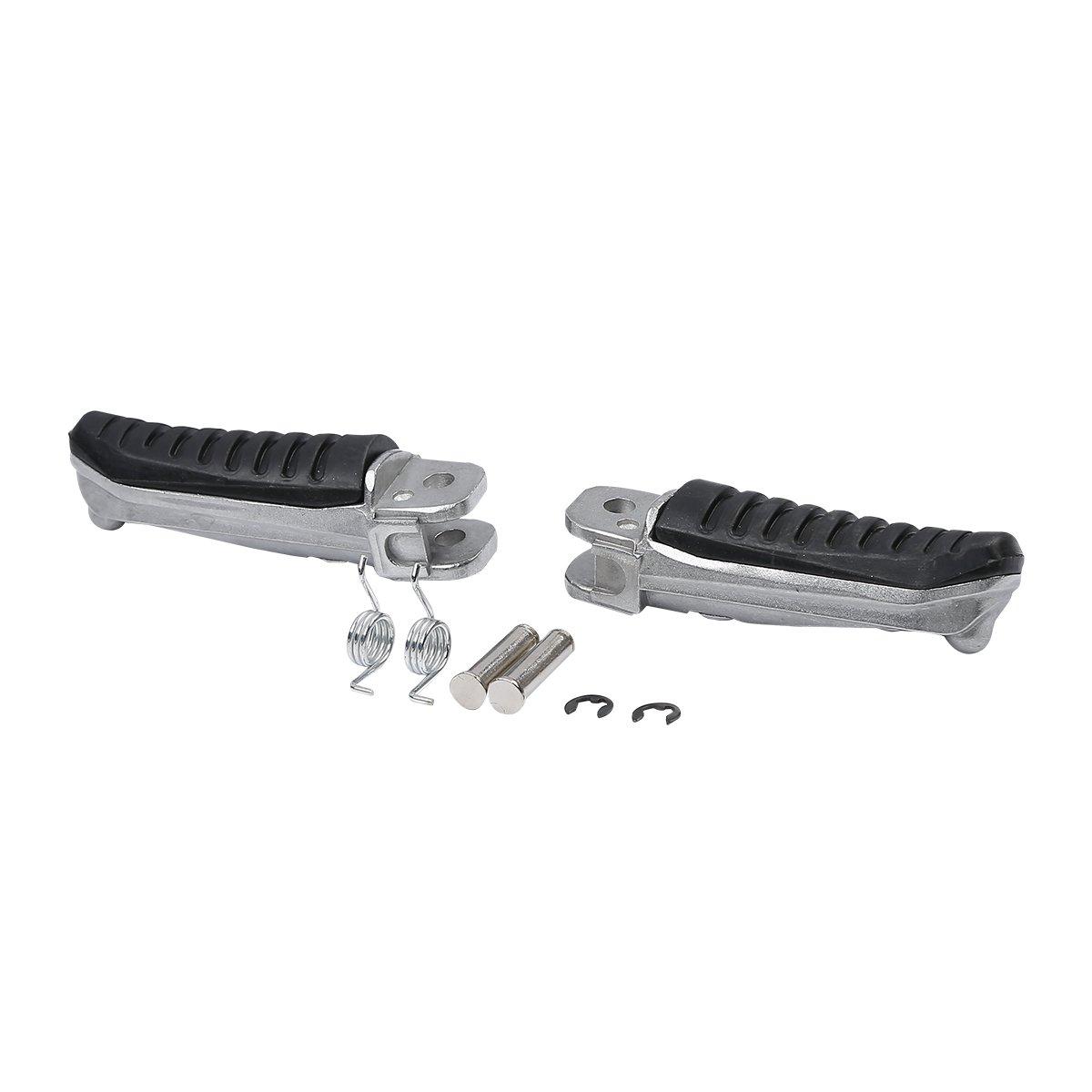 XMT-MOTOR Negro Frente Reposapi/és Estriberas Clavijas para pies Pedales footrest para Bandit 400 GSF400 GK75A GSX400 91-97 GSF1200 Bandit 96-05 GSF600 96-00