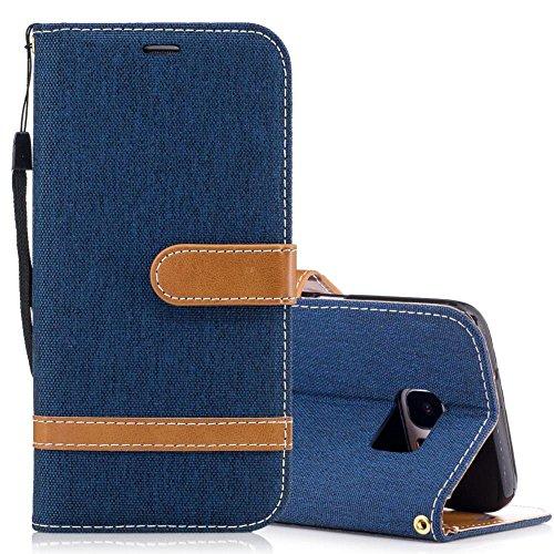 Samsung Galaxy S7 Edge Funda Negro, MEETER Libro PU Cuero Case Con Flip case cover, Cierre Magnético, Función de Soporte, Tarjeta y efectivo titular, Billetera con Tapa para Samsung Galaxy S7 Edge, Co Azul oscuro