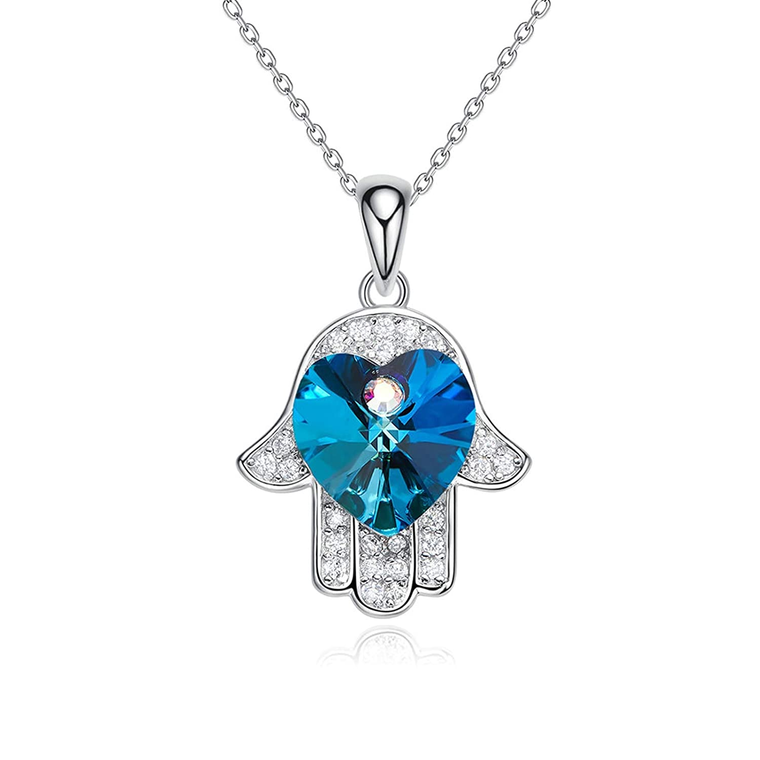 ANAZOZ S925 Sterling Silver Heart Crystal Hamsa Hand Pendant Necklace Gift Box