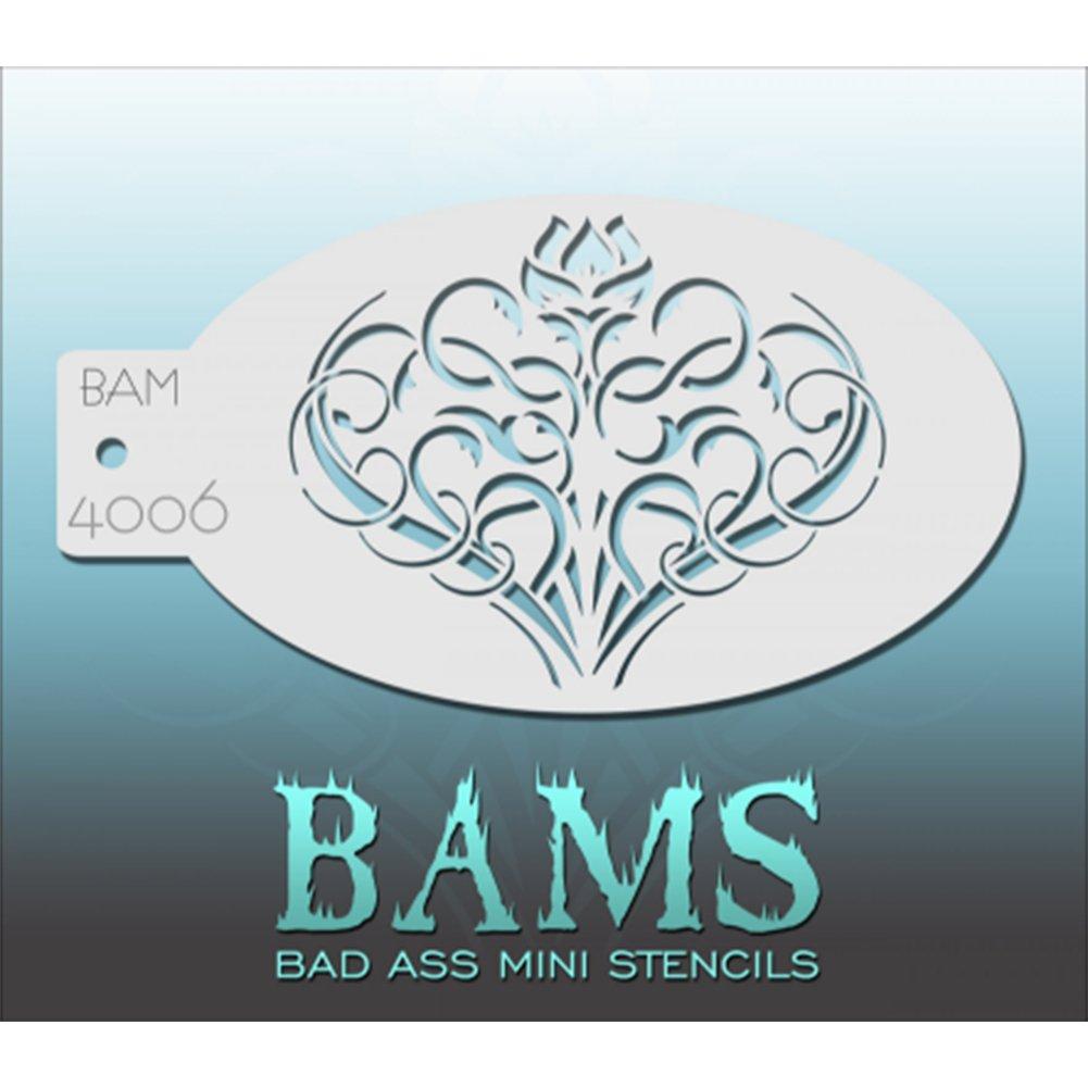 Bad Ass Flower Swirls Mini Schablone bam4006