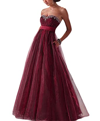 Veilove Burgundy Prom Dresses For Women Long With Beadings Burgundy Vestidos Gala Gowns