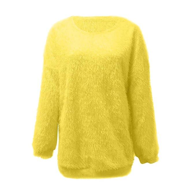 Rovinci☆Suéter de Las Mujeres Moda de Invierno Color sólido O Cuello Suelto cálido de Punto Largo Manga Linterna Blusa: Amazon.es: Ropa y accesorios