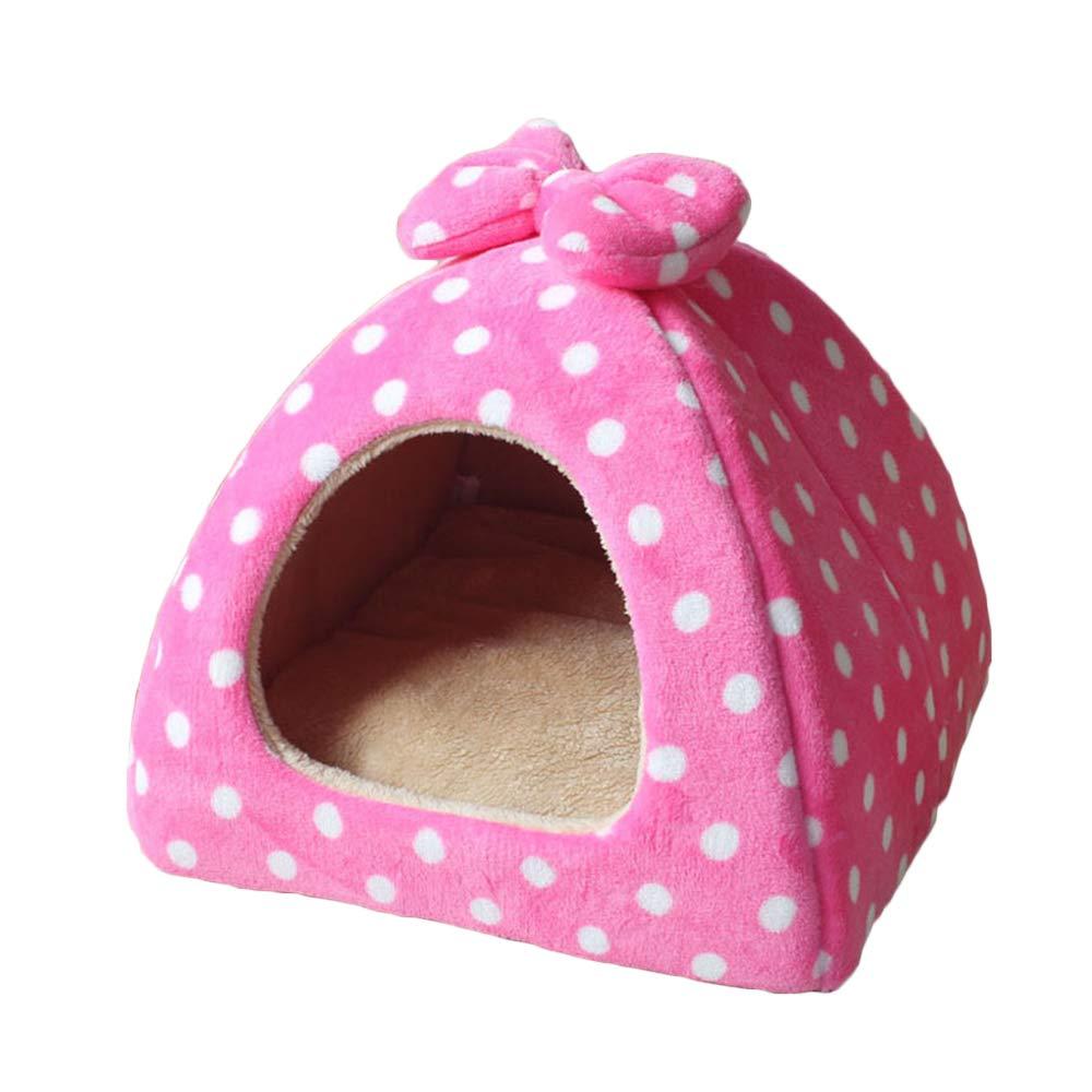 Pink a 434336cmPet nest, flannel, sponge, mattress, suitable for dogs, cats, etc. (color   bluee C, Size   43  43  36cm)