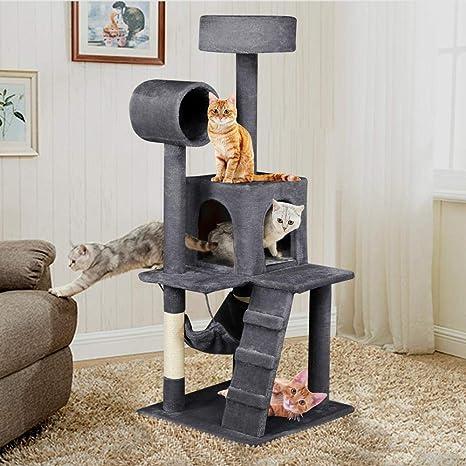 Yaheetech Árbol para Gatos Rascador con Plataforma Rascador Sisal Casa para Gatos 50cm x 50cm x