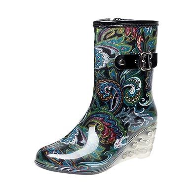 Damen Punkt-Muster Regen Boots Wellies Gummistiefeln Blume Etikett 37, EU 37