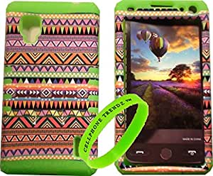 Cellphone Trendz High Impact Hybrid Rocker Case for LG Optimus G LS970 (SPRINT Only) - Lime Green Silicone with Hard Pink Tribal Aztec Design