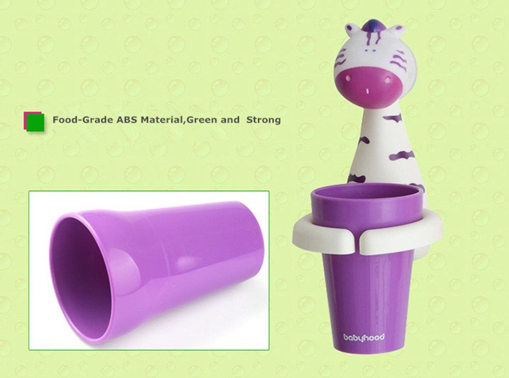 HEYING BABY Animal Cartoon Children Toothbrush Holder Suit, Creative Candy Color Wall Suction Hanging Mouthwash Cup Food-Grade Material (Zebra)