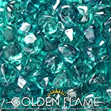 Golden Flame 20-Pound Fire Glass 1-Inch Caribbean Blue Reflective...