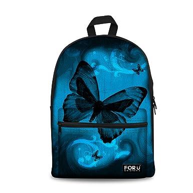 bfc04789b5 HUGS IDEA Children School Backpacks Blue Butterfly School Bag Bookbag for  Girls Campus Laptop Bags