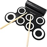 Electronic Drum Set, iWord Hand Roll Up Drum Pad Portable Rechargeable Drum Kit with Headphone Jack Built-in Dual Speaker Drum Pedals Drum Sticks 10 Hours Playtime