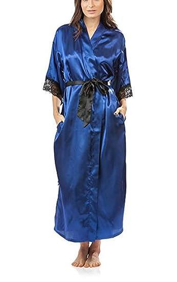 dfff421f2d Pragmaticv Summer Lace Patchwork Satin Kimono Robe Sexy Sleepwear Lingerie  Chemises Women Silk Long Nightgown Wedding Bridesmaid Robe  Amazon.co.uk   ...