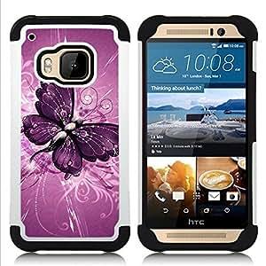 - butterfly painting purple floral pattern/ H??brido 3in1 Deluxe Impreso duro Soft Alto Impacto caja de la armadura Defender - SHIMIN CAO - For HTC ONE M9