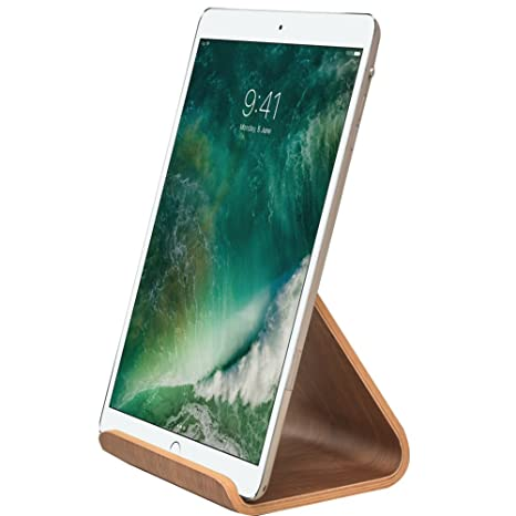 SAMDI iPad Stand for Kitchen, Wood Tablet Desktop Stand Holder Dock for  iPad Pro 9.7, 10.5, Air, Mini 2 3 4, Kindle (Black Wanlut)