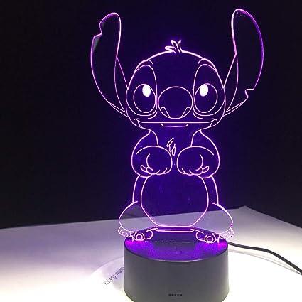 Luz nocturna LED-Visión 3D-Siete colores-Control remoto-Punto de ...