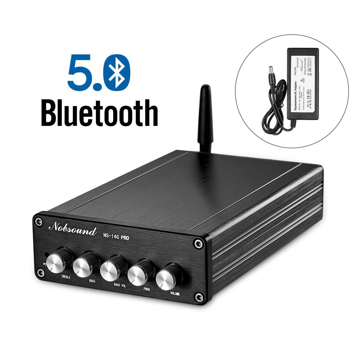 Nobsound 2.1 Channel Bluetooth 5.0 Amplifier, Class D Stereo Audio Amplifier, Mini Home Theater Power Amp, Digital Power Subwoofer Amplifier Receiver, 100W+50Wx2, Treble&Bass Control (NS-14G PRO)