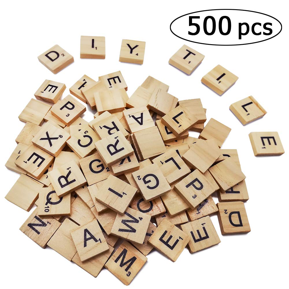 500PCS Scrabble Letters for Crafts,Wood Scrabble Tiles - DIY Wood Gift Decoration - A-Z Capital Letters for Crafts, Pendants, Spelling by QPEY