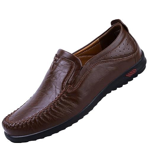 Yiiquan Homme Mocassins Faux Cuir Chaussure Affaires Décontracté Confortables Grande Taille (Noir, 40.5 EU)
