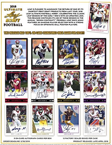 2018 Leaf Ultimate Draft Football Hobby 12-Box Case (Case Football Box 12)