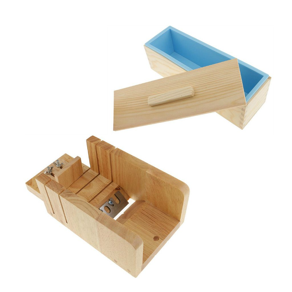 Baosity Wooden Loaf Soap Precision Cutting Trimming Box+Rectangle Silicone Soap Mold