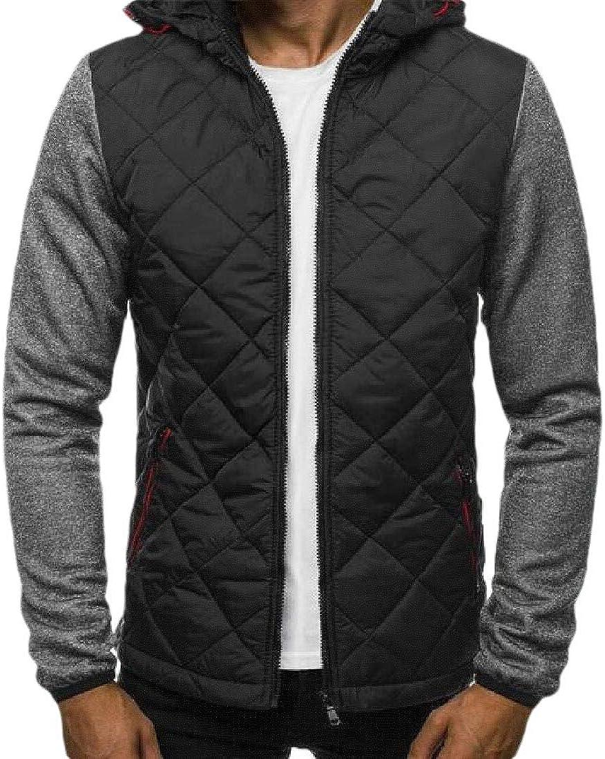 Men Casual Winter Warm Long Sleeve Casual Hooded Zipper Color Block Patchwork Coat Cardigan