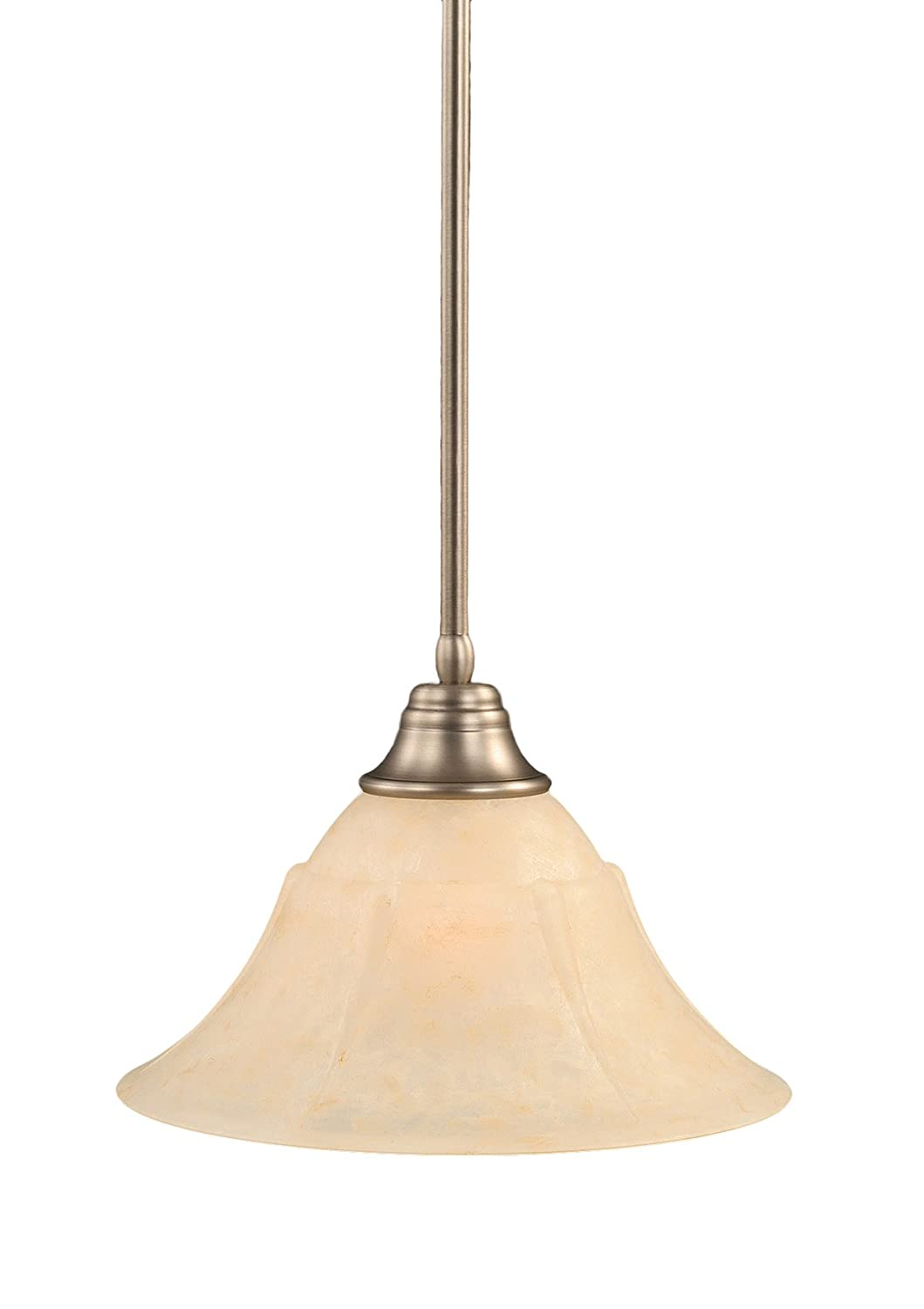 14-Inch Toltec Lighting 26-BN-53313 Stem Pendant Light Brushed Nickel Finish with Amber Marble Glass Shade