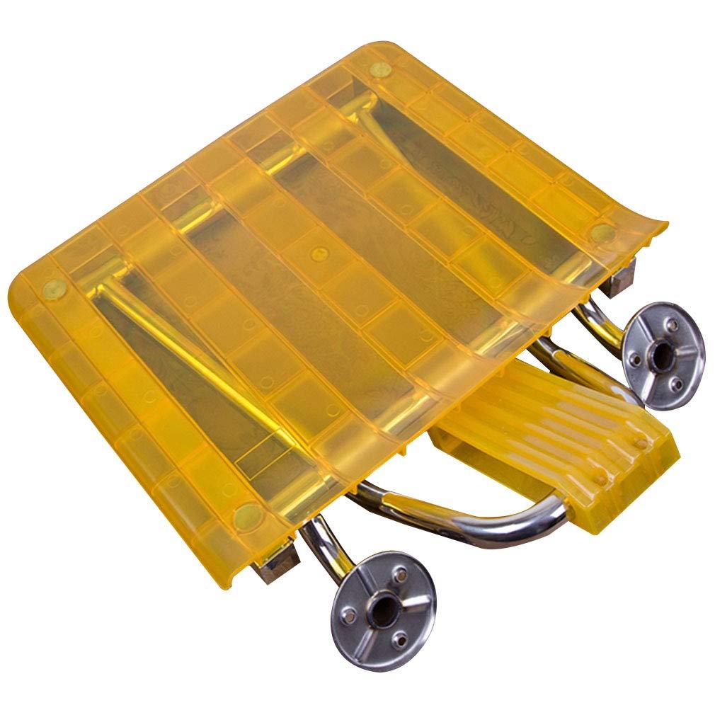 ZHAOHUI バスルームシャワースツール シャワーチェアバスルームシート 304ステンレススチールフレーム防水ノンリップ90°折り畳み式ダークインスタレーションデザインベアリング150KG、ホワイトイエロー38x32x22cm (色 : イエロー いえろ゜)  イエロー いえろ゜ B07JJG1L1C