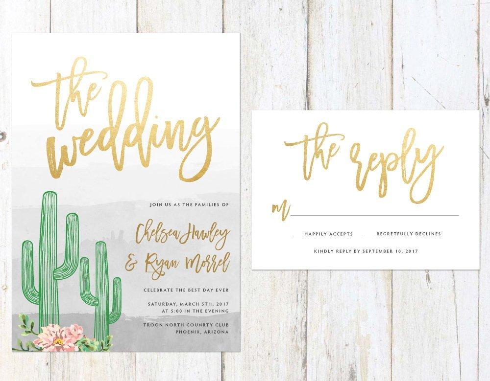 Cactus and Succulent Invitation, Gold Cactus Wedding Invitation, Fun Arizona Invitation, Palm Springs Invitation