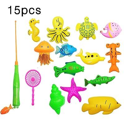 Zinniaya Creative 39/15/27 Piezas Juguete de Pesca magnética Juguete de baño para bebés Juego de Juego de educación de Aprendizaje de Pesca (Piscina no incluida): Juguetes y juegos