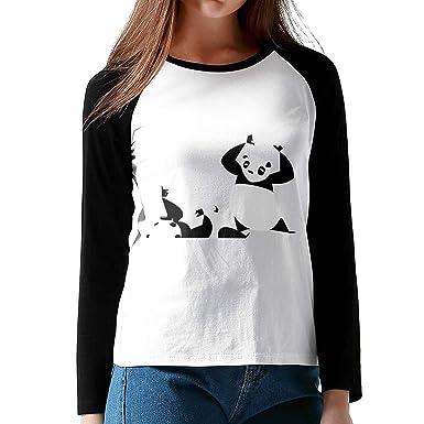 Amazon.com  Angry Panda Bear Wrestling Women Contract Color Leisure Shirt  Black  Clothing e3ce2c7e9