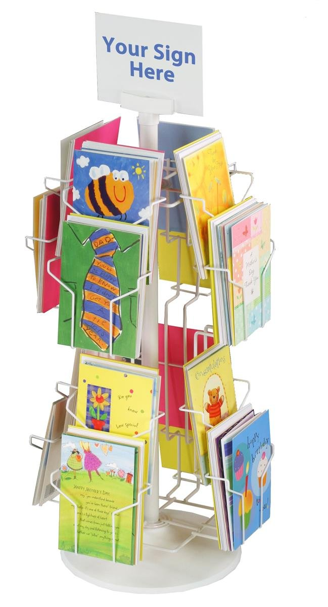 Greeting Card Display Rack with (16) 5 x 7 Tiered Pockets for Countertop Use, 29'' Tall Spinning Wire Stand - White Wire Construction with Plastic Base and Sign Holder