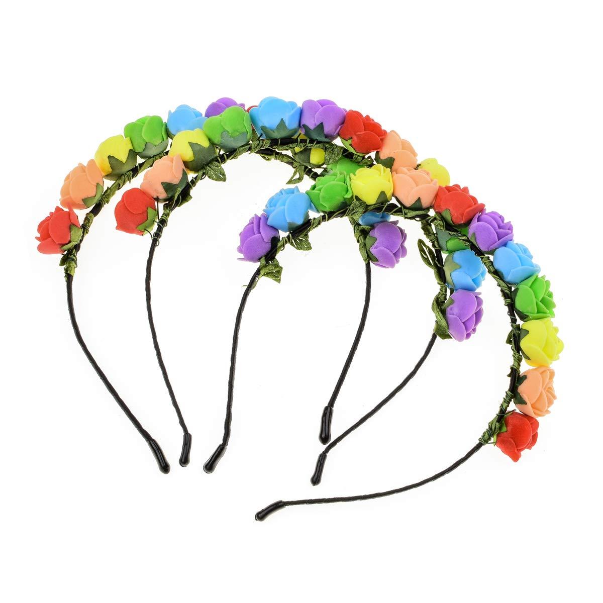 Love Sweety Boho Floral Crown Rose Flower Headband Hair Wreath (Rainbow 3pc)