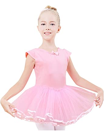f9598502e Girls  Dance Cross Tutu Short Sleeve Dress Bow-knot Pretty Kids ...