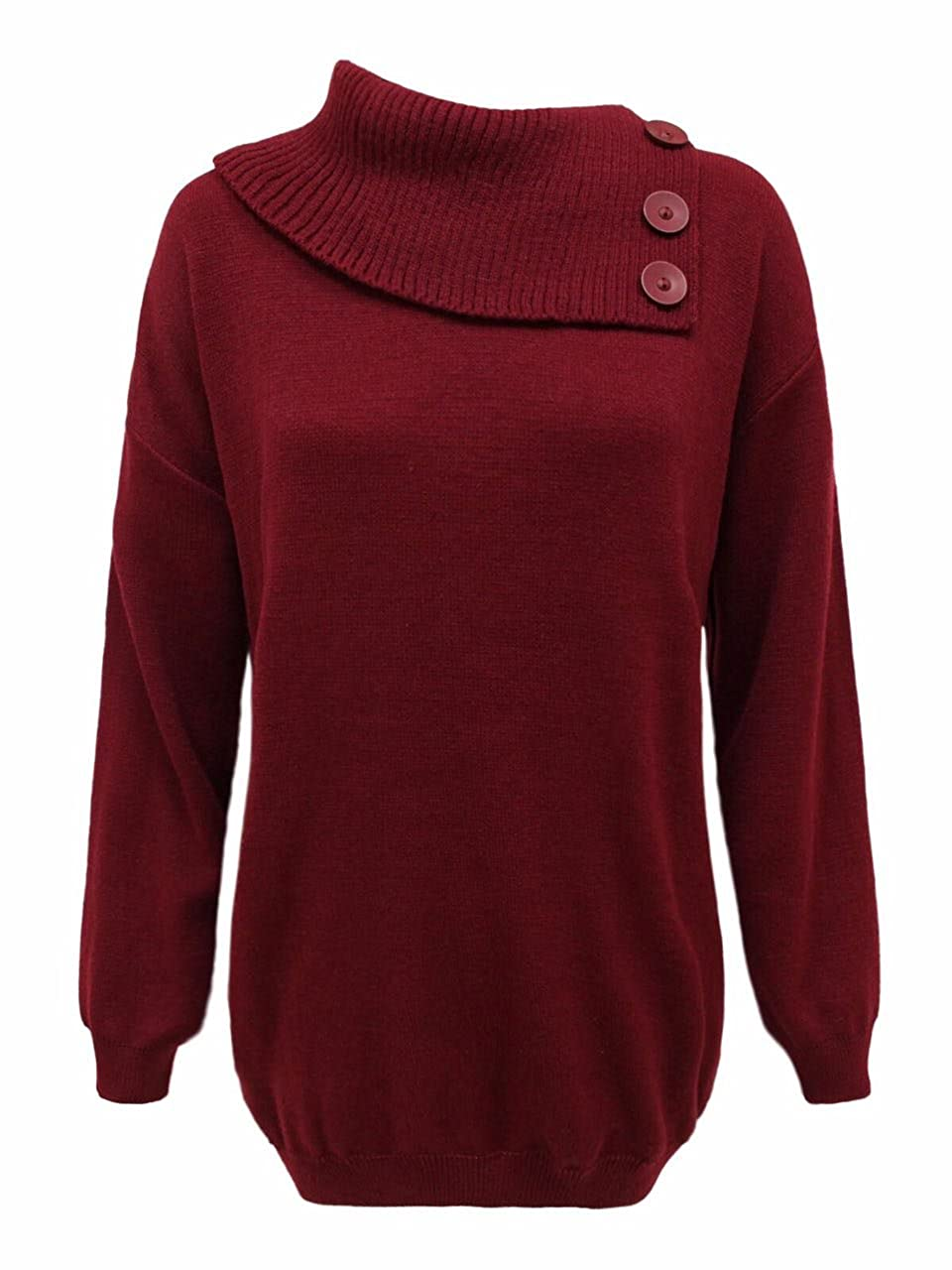 New Ladies Women 3 buttons Style Knitted Polo Neck Top Sweater Pullover Jumper ( Plus sizes 16/18 20/22 24/26 )