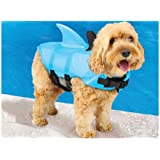 Swimways Sea Squirts Dog Life Vest w/ Fin for Doggie Swimming Safety, Color: Blue, Rest at Ease Knowing Your Pooch has a Life Preserver for Water Safety at the Pool, Beach, Boating