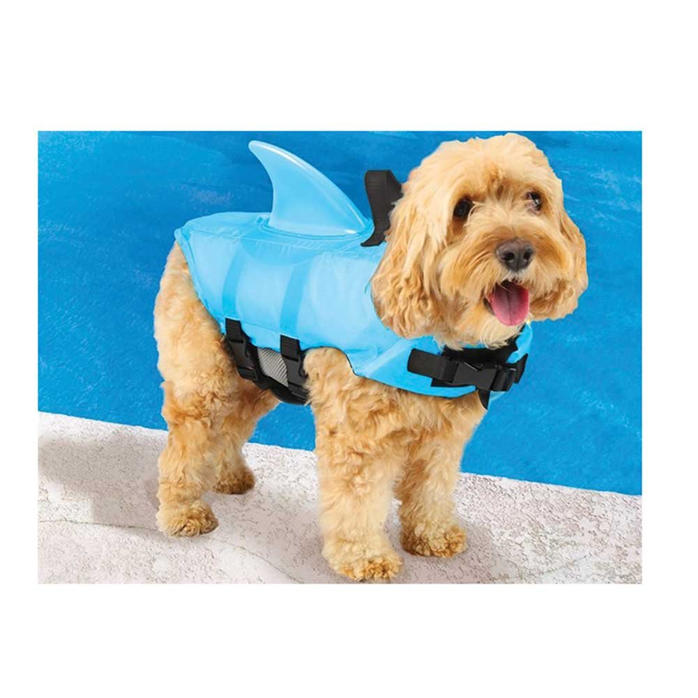 Swimways Sea Squirts Dog Life Vest w/ Fin for Doggie Swimming Safety Color: B...