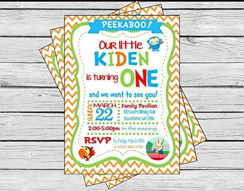 Baby's First TV Inspired Happy Birthday Invitation - Royal Blue Stripes Primary Color Polka Dots - Party Packs Available