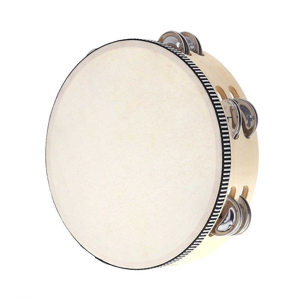 Andoer 8'' Double Row Tambourine Drum Bell Birch Metal Jingles Percussion Musical Educational Toy Instrument for KTV Party Kids Games