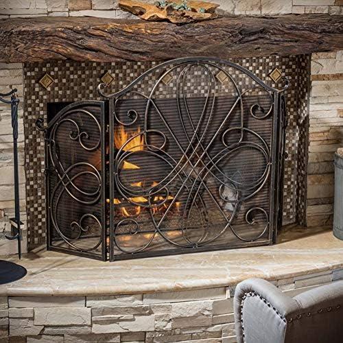 暖炉スクリーン スワール&ハンドルデザインの3パネルブロンズアイアン暖炉スクリーン、家の装飾安全ベビーフェンス高85cm、屋内および屋外用スパークガード