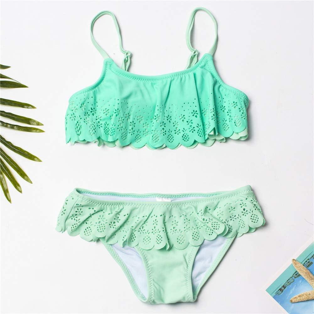 Beikegm Girls Swimwear t 2 Piece Set Hollow Bikini Set Solid Ruffle Beach SPOR Swimsuit