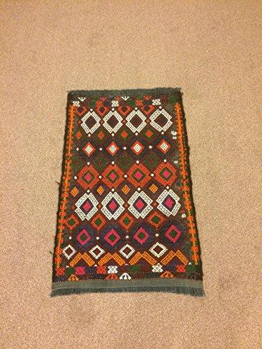 1.10x2.11 Feet Ethnic Kelim Handicraft Colorful Village Rug Handmade Carpet Kilim Doormat Bathmat Nursery Rug Kid's Room (Kilim Village)