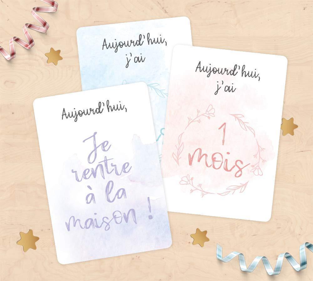 Cartes étapes de la vie de bébé - Cadeau de naissance, cadeau future maman, cadeau bébé