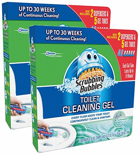 Scrubbing Bubbles Toilet Cleaning Gel, Glade Rainshower Scent, 2 Dispensers & 30 Gel Stamps, (Pack of 2) (Scrubbing Bubbles Carpet Cleaner compare prices)