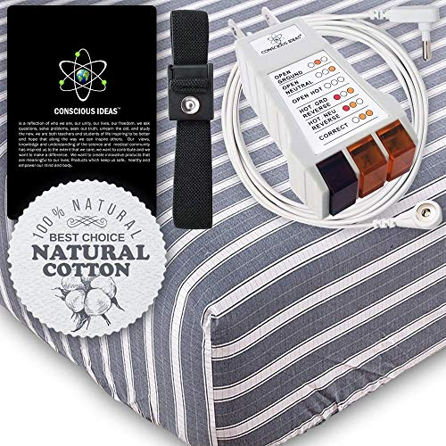 (Earthing Grounding Sheet Grounded Fitted Mattress Sheets (Blue Jean white Strips) Conductive 400TC 95% Natural Cotton 5% Pure Silver Thread Healthy Earth Energy therapy bedding USA Tester (Queen Size))