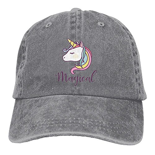 Buecoutes Magic Unicorn Vintage Cowboy Baseball Caps Trucker Hats Ash