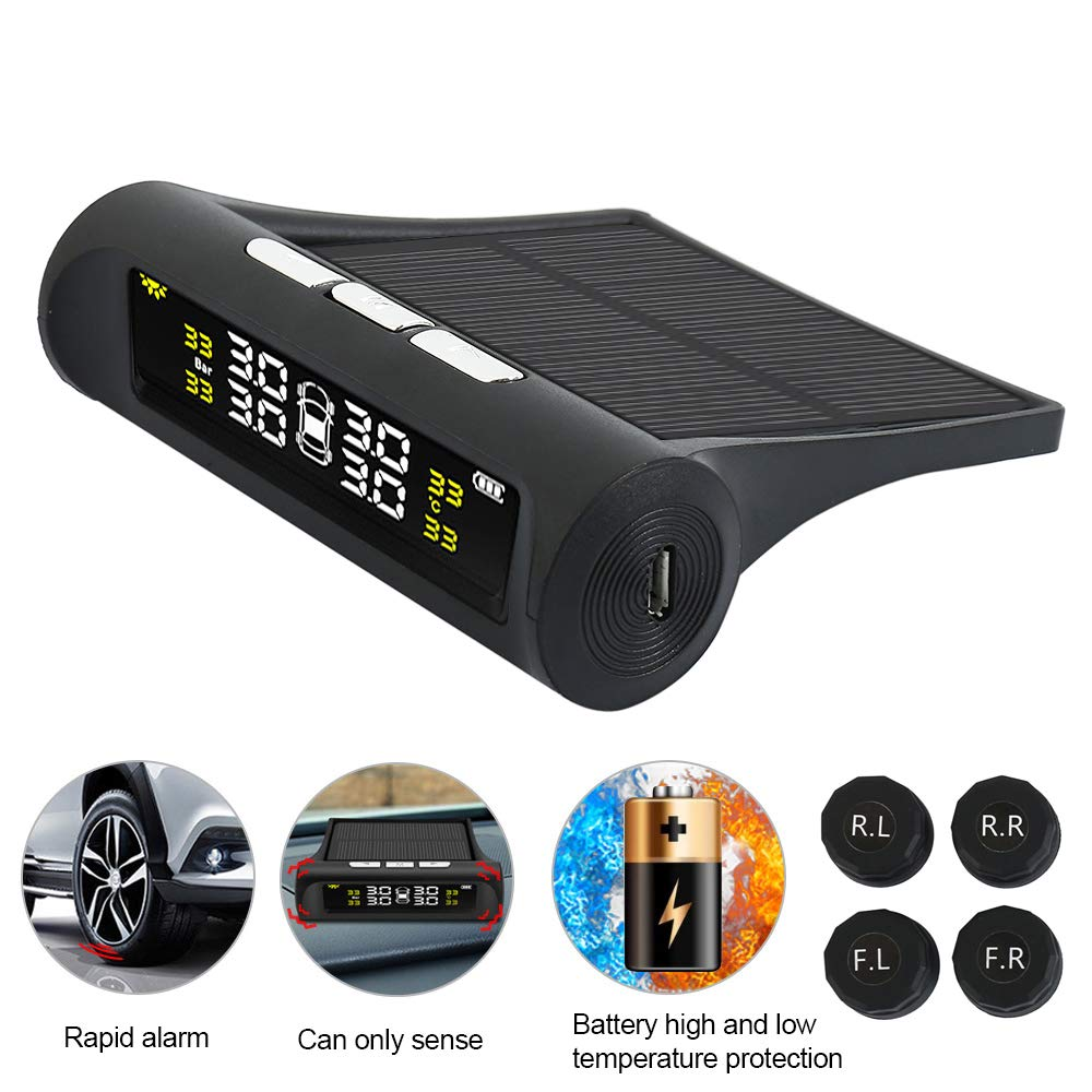 Car TPMS Tyre Pressure Monitoring System Solar Energy Wireless Auto Alarm System with LCD Color Display and 4 Sensors for Car Sifeier