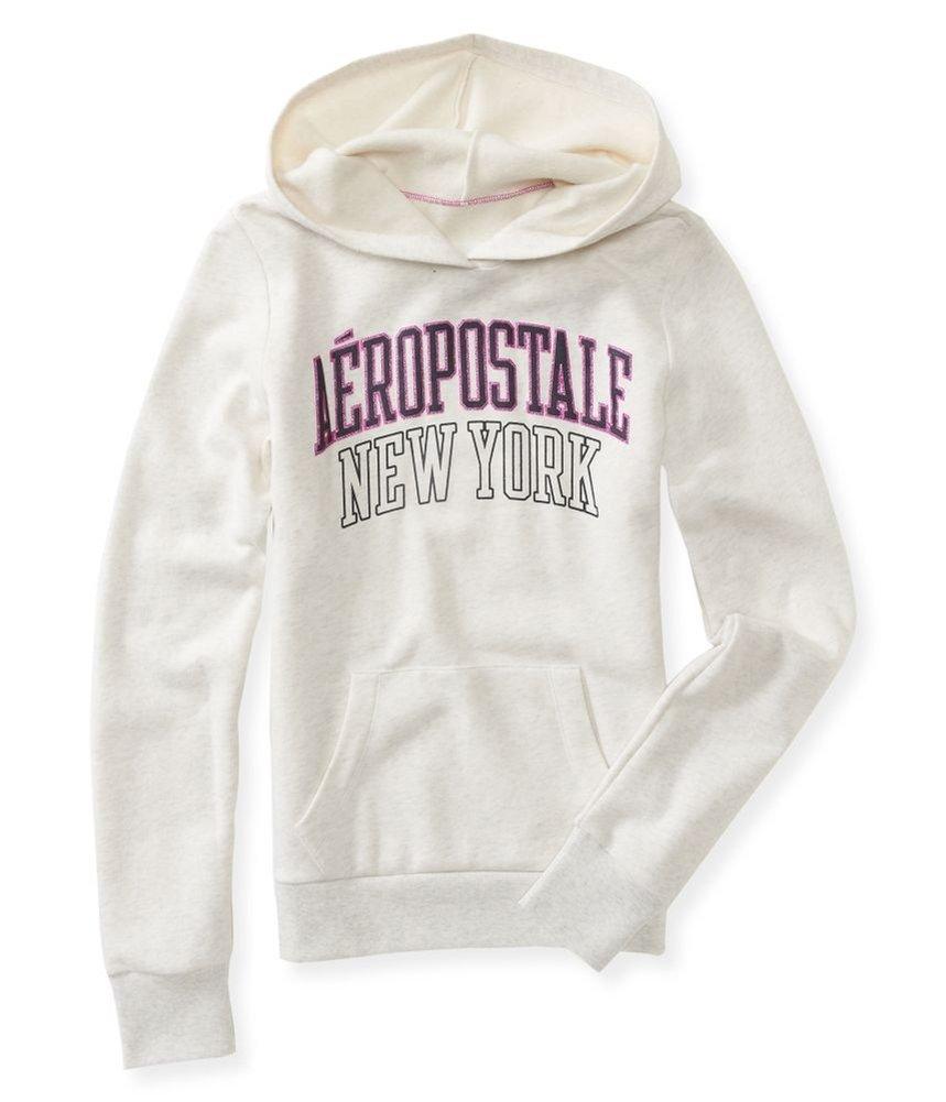 Aeropostale Womens Puff Glitter Hooded Hoodie Sweatshirt 104 S