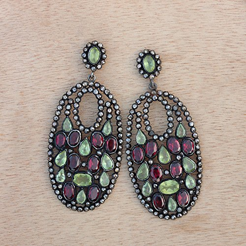 Natural Diamond Pave Rhodolite Peridot Gemstone Designer Dangle Earrings Sterling Silver Handmade Jewelry