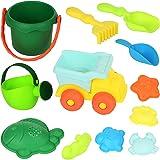 WTOR おもちゃ 砂遊び 水遊び セット 海や公園へGO!バケツ、車といろいろ砂型など付き知育玩具 子供のお誕生日プレゼント お風呂用 12セット(商品の色 ランダム)
